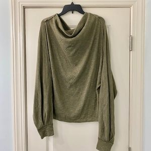 We The Free Olive Green Oversized Thermal Top L